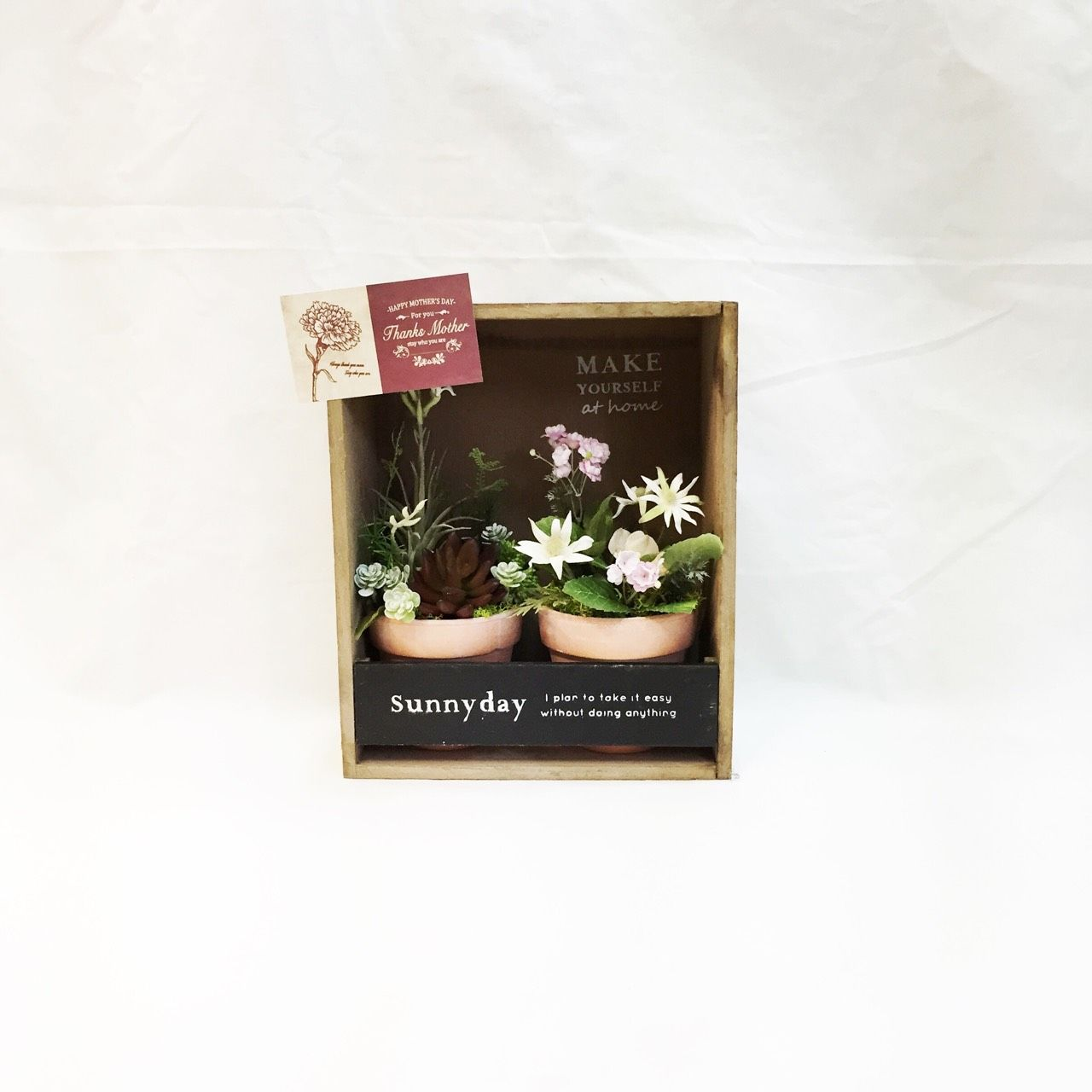 多肉植物と小花のBOXアレンジメントセット