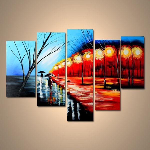 【art gallery】 絵画 モダン アートパネル 手書き 油絵 「街並み」 木枠フレーム付