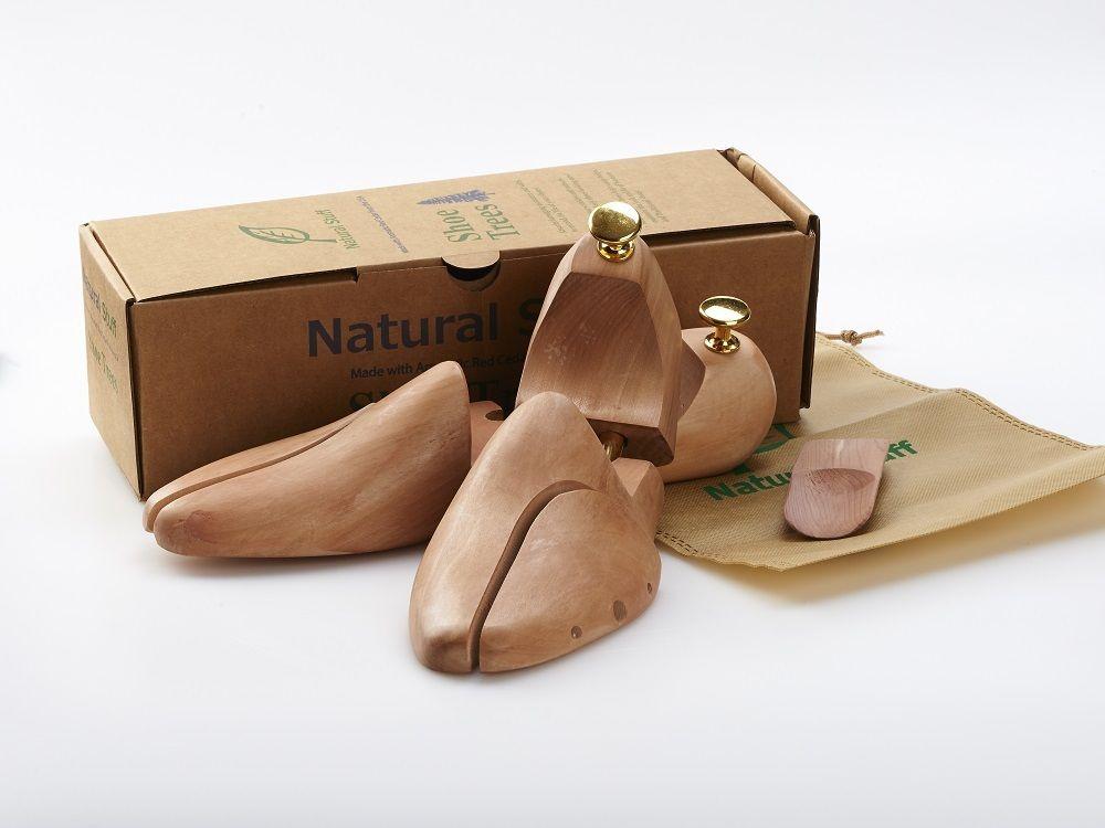 【Natural Stuff】 革靴手入れ しわ解消 シューキーパー シューツリー 天然 木製 素材 シナミザクラ 靴べら お酒落パッケージ付き