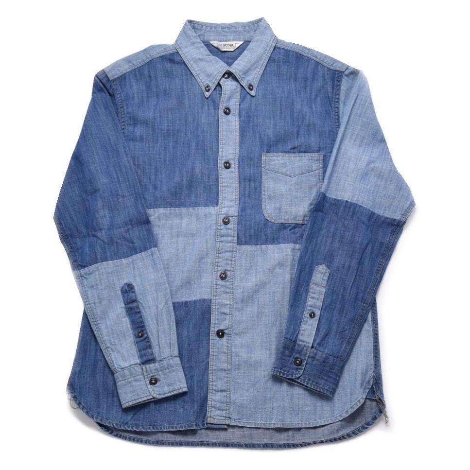 パッチワークデニム ボタンダウンシャツ