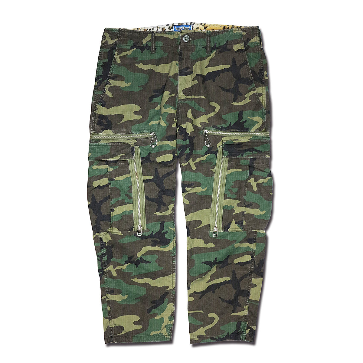 WOODLAND CAMOUFLAGE MILITARY ZIP PANTS