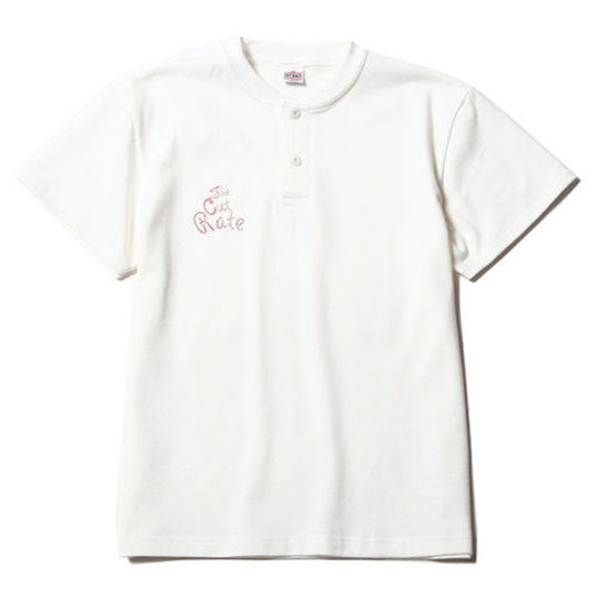CUTRATE  HENLEY NECK T-SHIRT WHITE  CR-17SS039