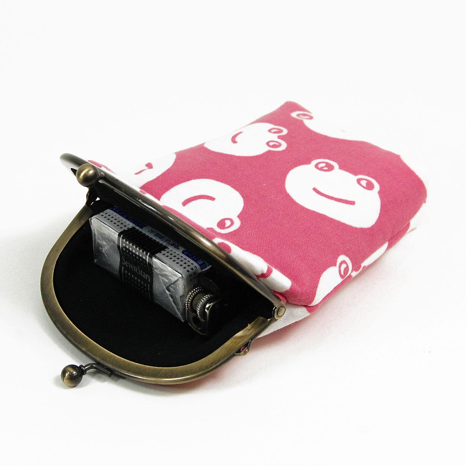 がま口式小物入れ かえる(ピンク) 3.3寸丸型(小銭入れ・財布)たばこ入れ シガレットケース  代金引換支払い不可 レターパックお届け