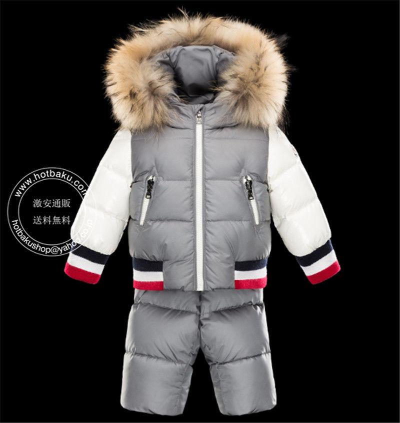 安心送料関税込2017モンクレール キッズ ダウン MONCLER ENFANT Pants and jacket suit 上下セット 子供服 グレー