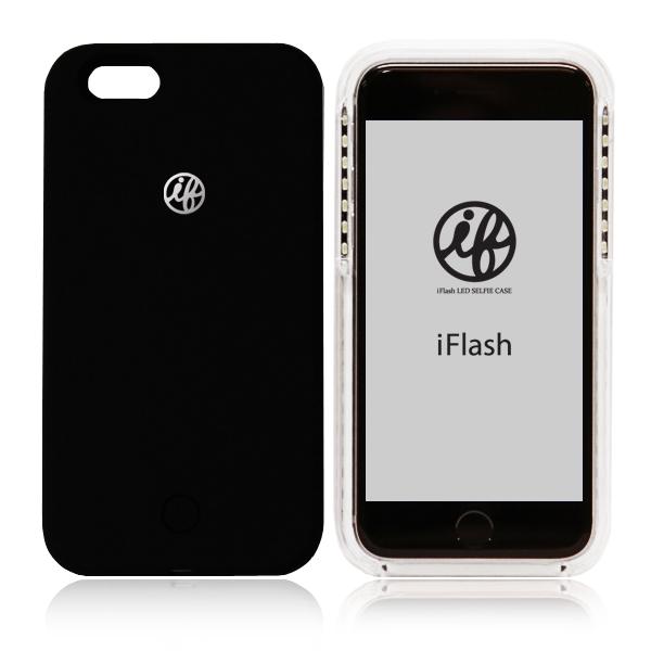 iFlash アイフラッシュ【送料無料】自撮りが綺麗セルフィーLED iPhoneケース BLACK(ブラック)