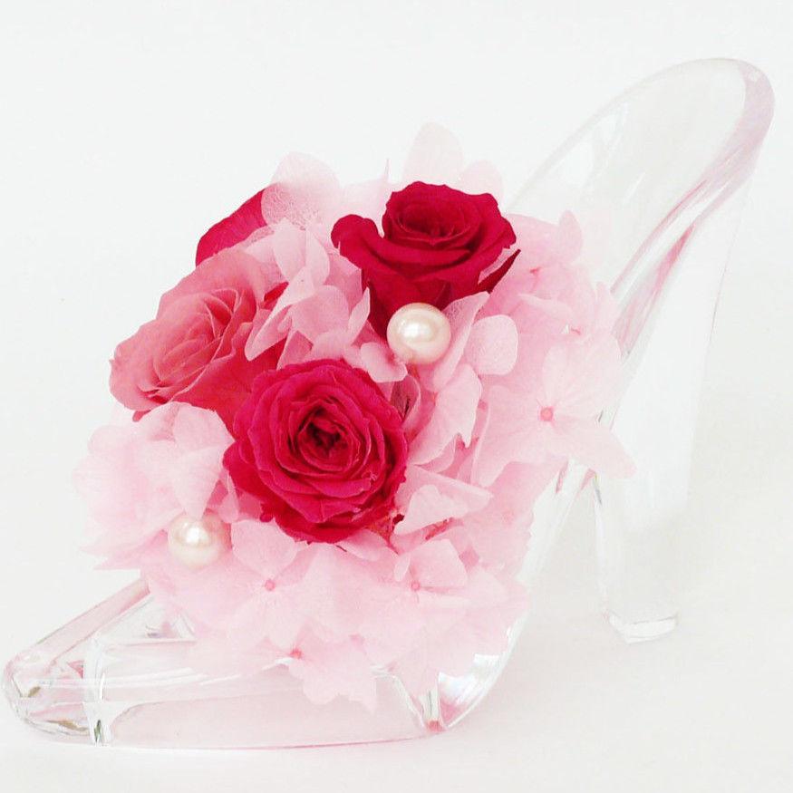 プリザーブドローズのガラスの靴アレンジメント【pink】