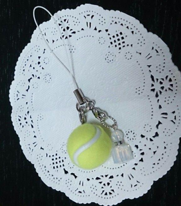 テニスボールストラップ(香水瓶チャーム付)