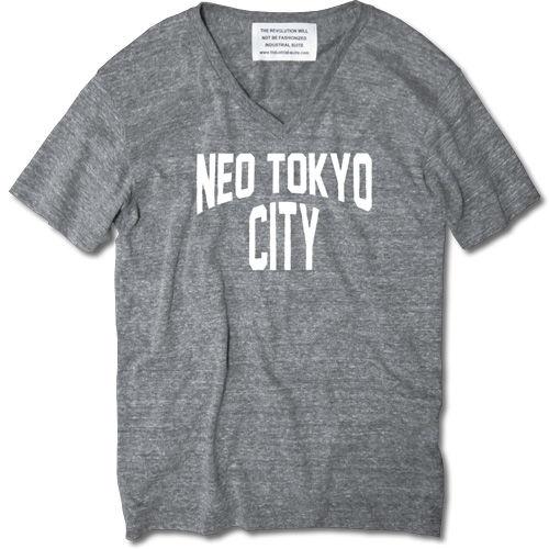 NEO TOKYO CITY V NECK TEE【AUTHETIC GRAY】