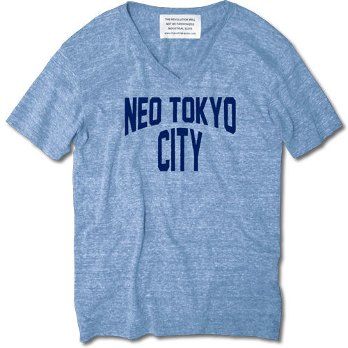 NEO TOKYO CITY V NECK TEE【AUTHETIC BLUE】