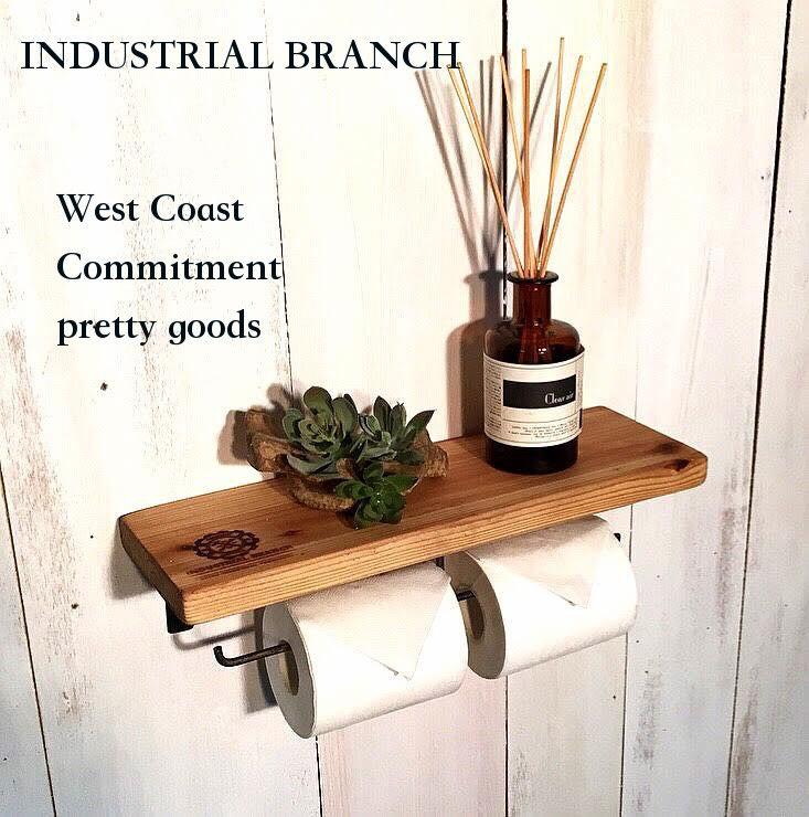 西海岸 国産 雑貨ウッド・トイレットペーパーホルダー アイアン雑貨 ヴィンテージモデル