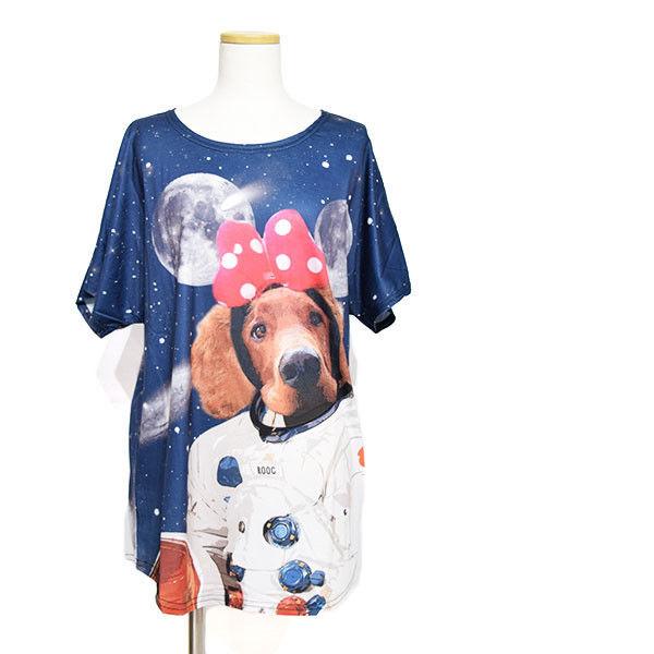 送料無料ルークTシャツ 犬柄 宇宙 動物 アニマル かわいい