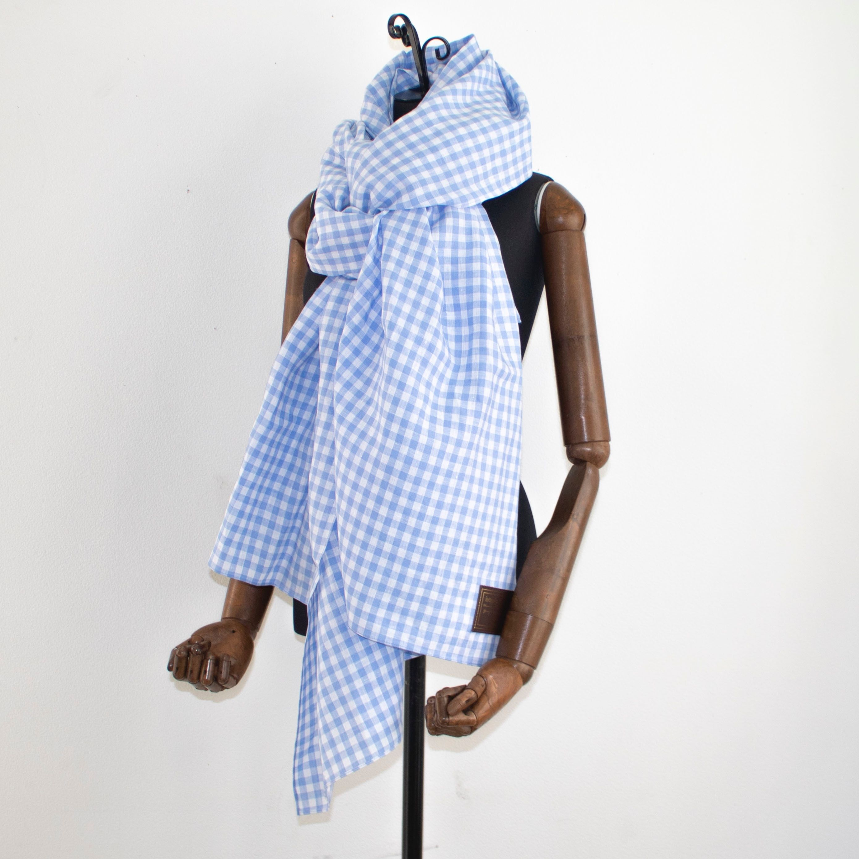 big stole gingham blue