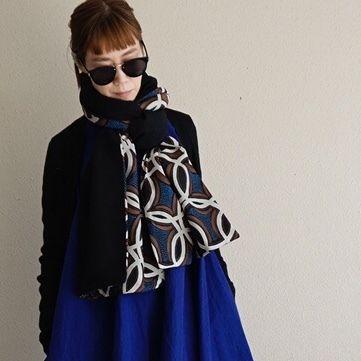 【online store 限定】big stole melton black afrotec blue