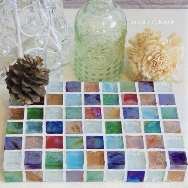 【受注制作】カラフルMix ガラスモザイクタイルのディスプレイトレイ(小物置き)中サイズ