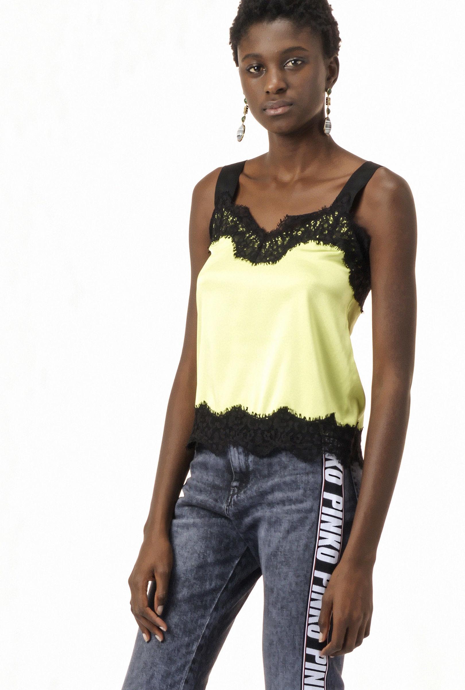 PINKO(ピンコ)  lace trimming  silk blouse1G12WM-Y443