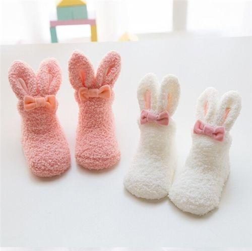ベビー 子供 幼児 新生児 キッズ 靴下 ソックス ウサギ モコモコ あったか 防寒