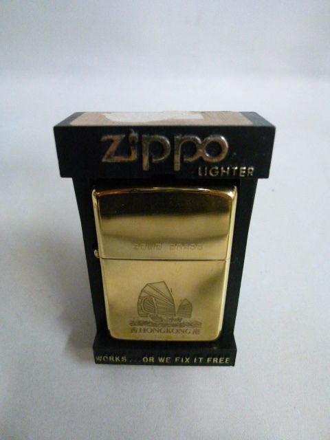 【未使用】 Zippo SOLID BRASS  HONG KONG 香港 ジッポー  181-217SK