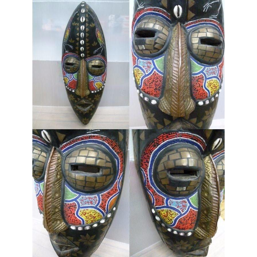 【中古】 アフリカ 木彫 お面  1710-314SK