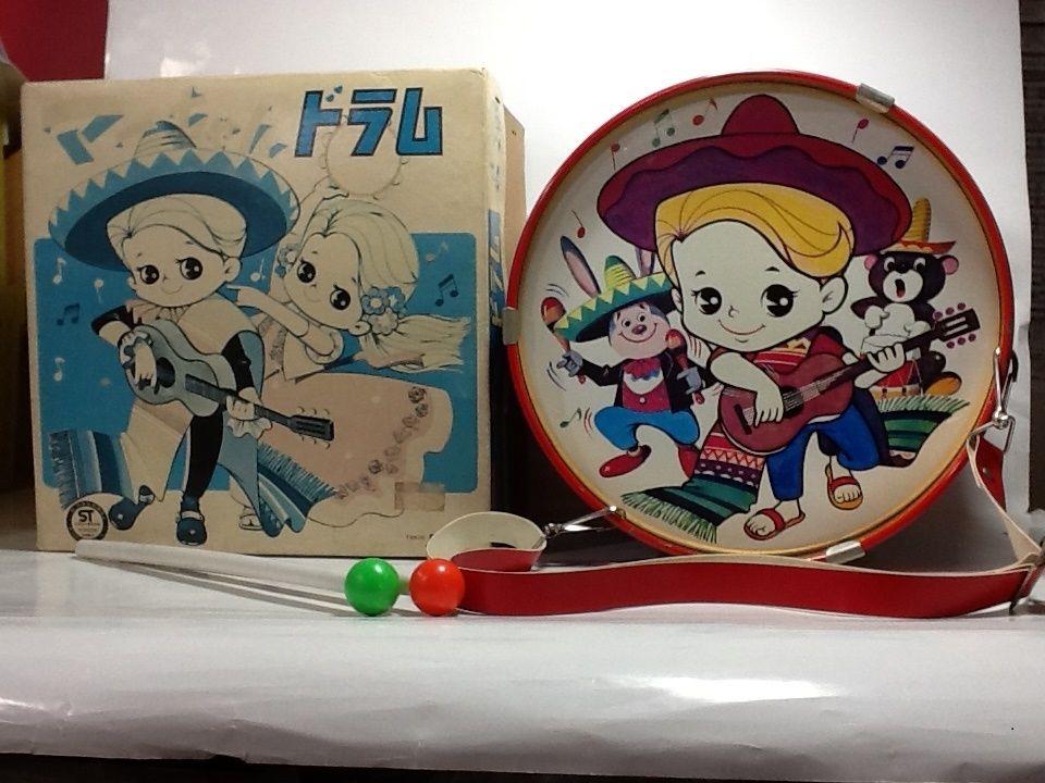 【中古】昭和レトロ 日本製 ブリキ マーちゃんドラム 箱付き ss1711-183
