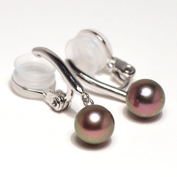 パールイヤリング7mmシルバー製ソフトタッチイヤリング正面からみた全長約26mm真珠含むアコヤ真珠染ブラック