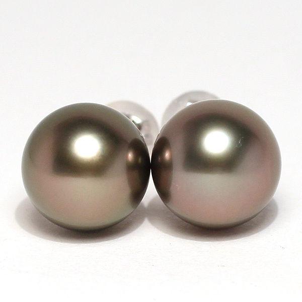 パールピアス タヒチ黒真珠9.8mmスタッド直結ホワイトゴールドピアスK14WG