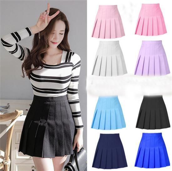 おしゃれ韓国風紺色プリーツスカート??