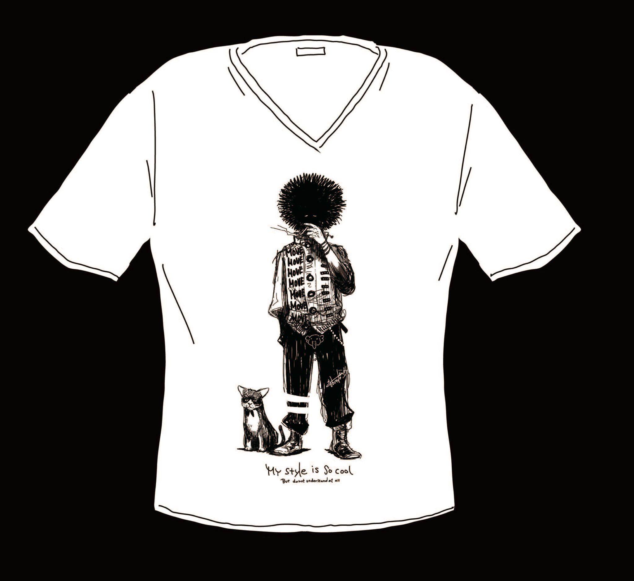 VネックTシャツ-M