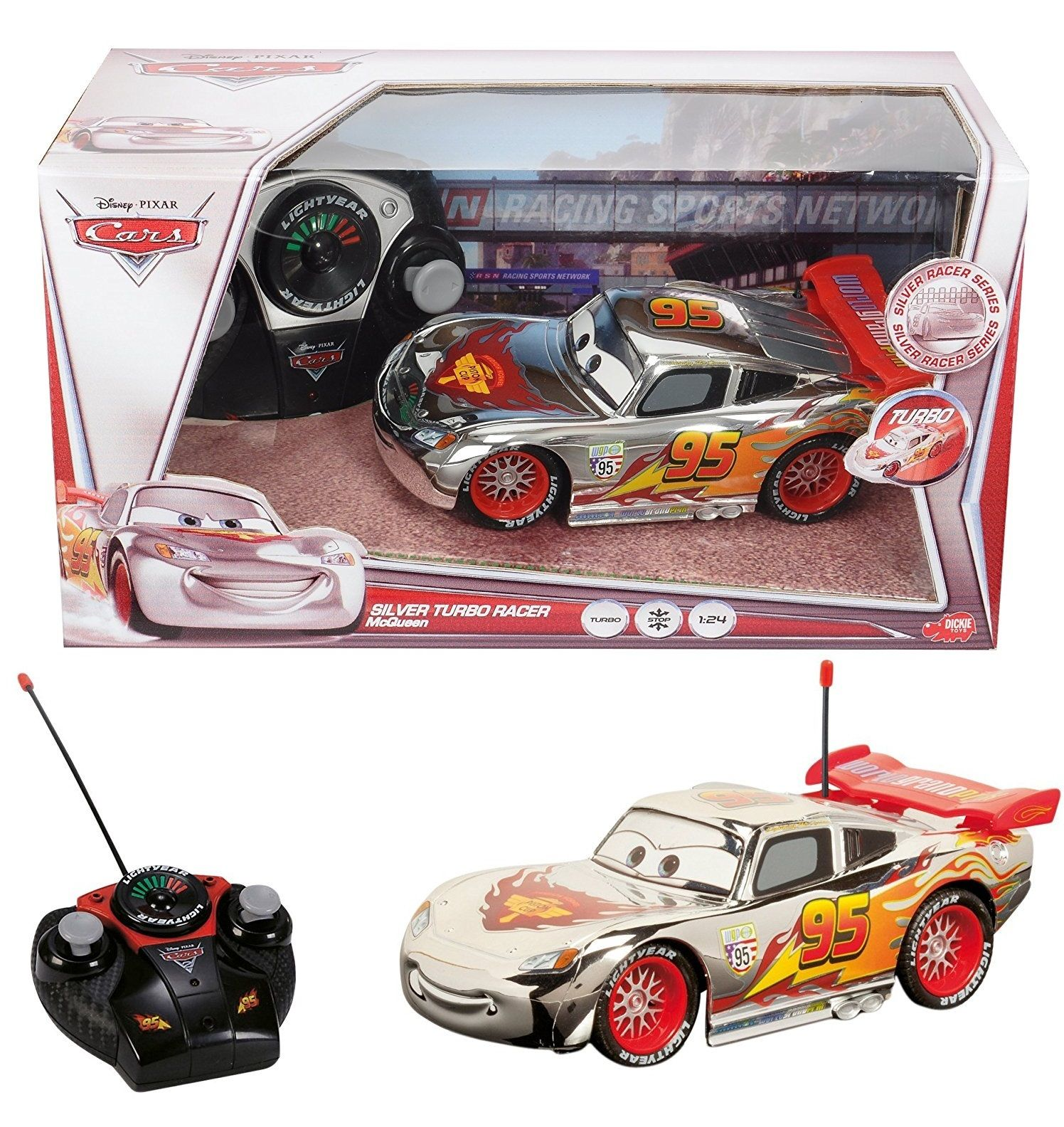 ディズニー・ピクサー カーズ2  Dickie Toys社 シルバー・ライトニング・マックイーン ラジコンカー