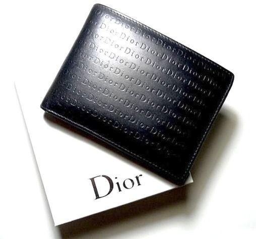 Dior Homme(ディオールオム)2つ折り財布(ロゴグラム x 黒 x 本物保障)