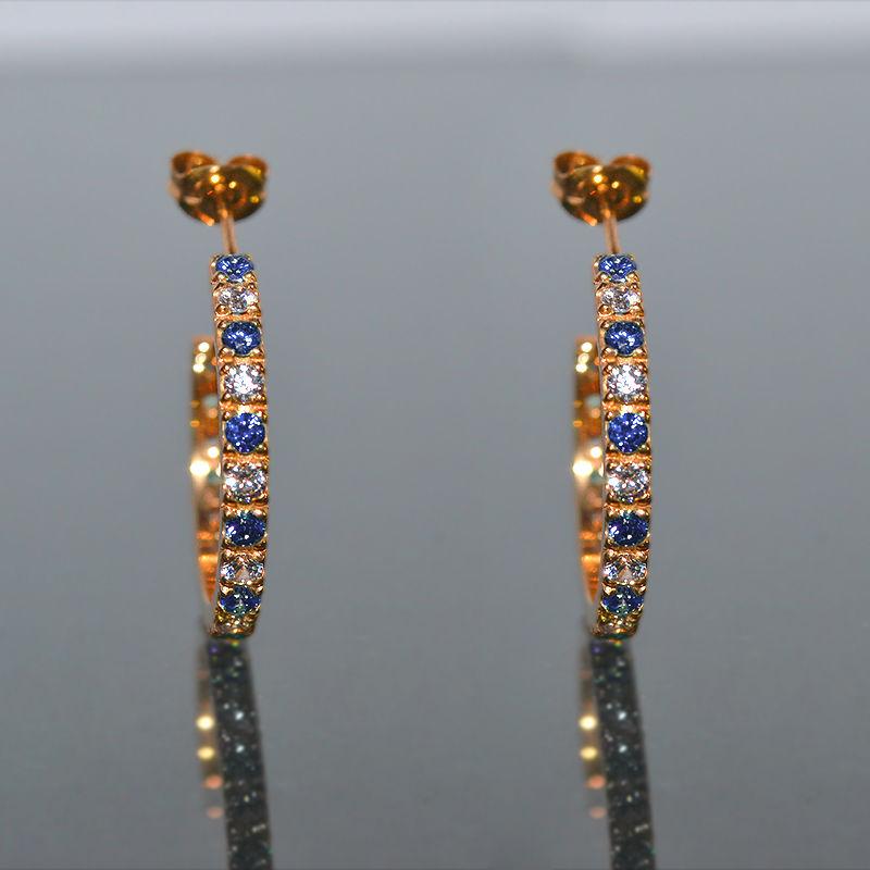 9月誕生石サファイア&ダイヤモンド エタニティフープピアス K18PG(18金ピンクゴールド)