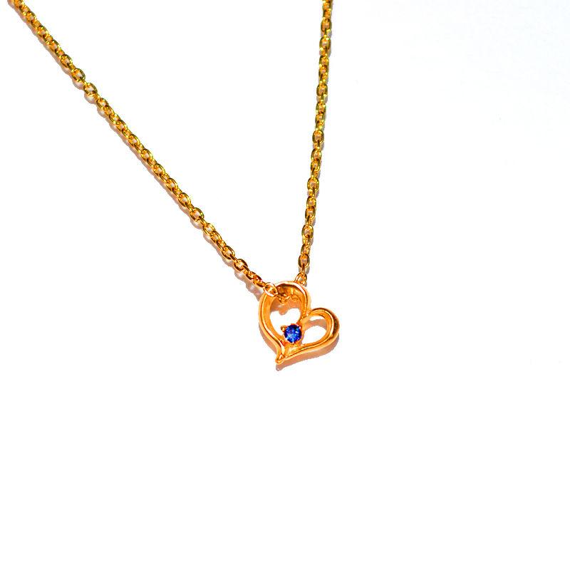 9月誕生石サファイア ハートチャームペンダントネックレス K18PG(18金ピンクゴールド)