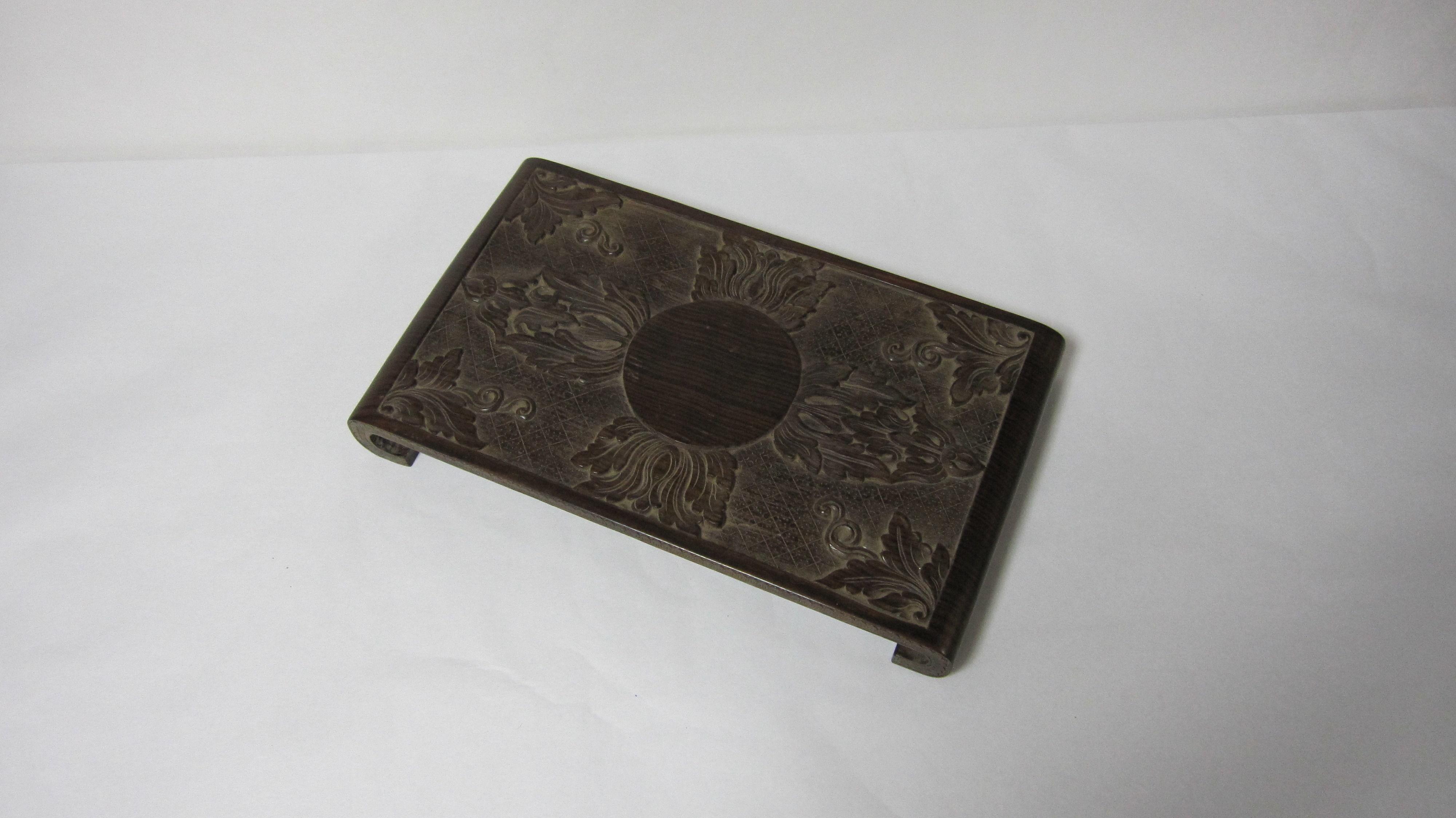 90.置物(黒檀材)            (幅40×奥行23.3×高さ4.8cm)