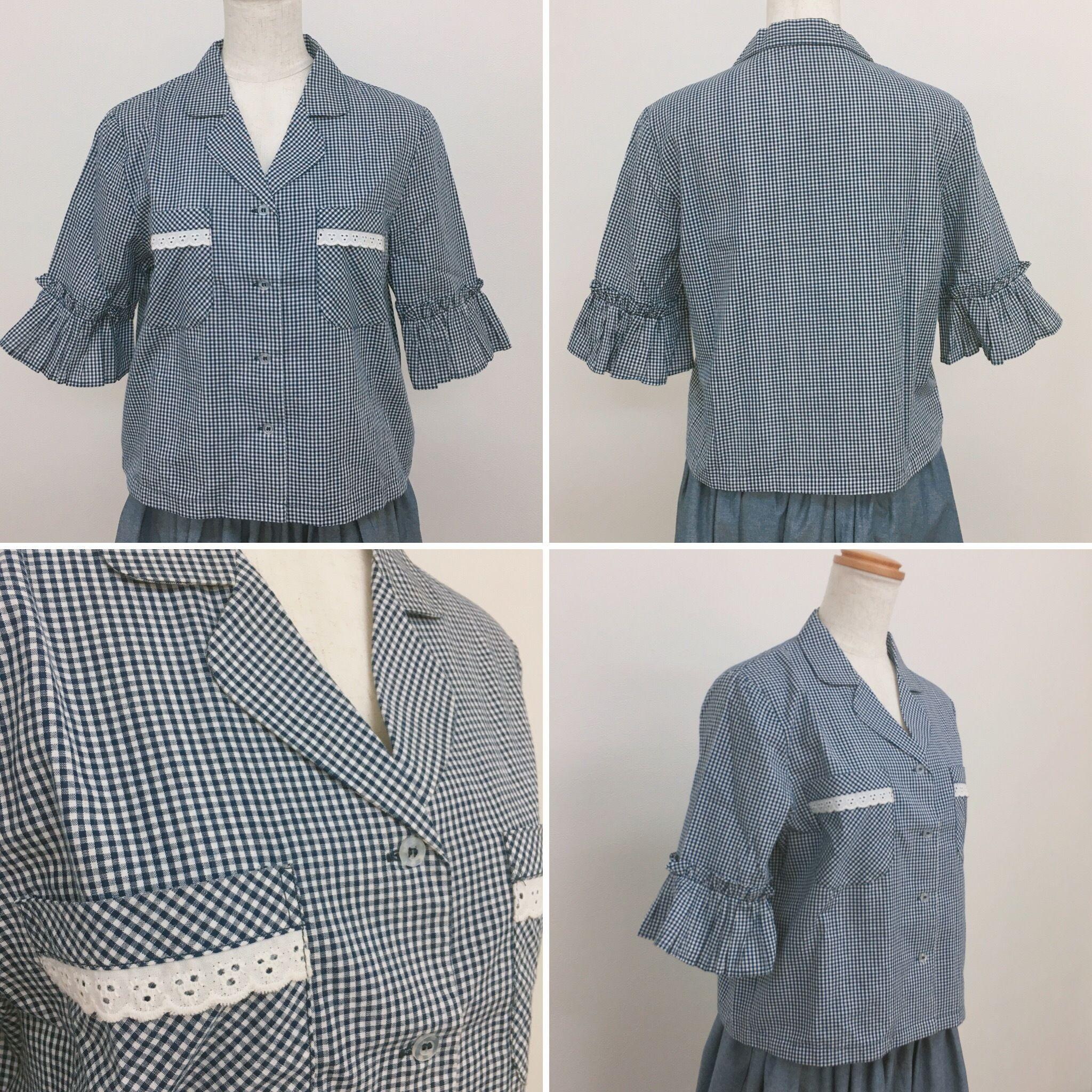 「1点限定」綿100% シャツ襟 チェック柄 レースフリル 五分袖ブラウス