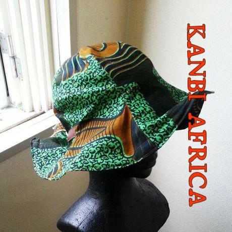アフリカ布リバーシブルフリーサイズチューリップハット♪