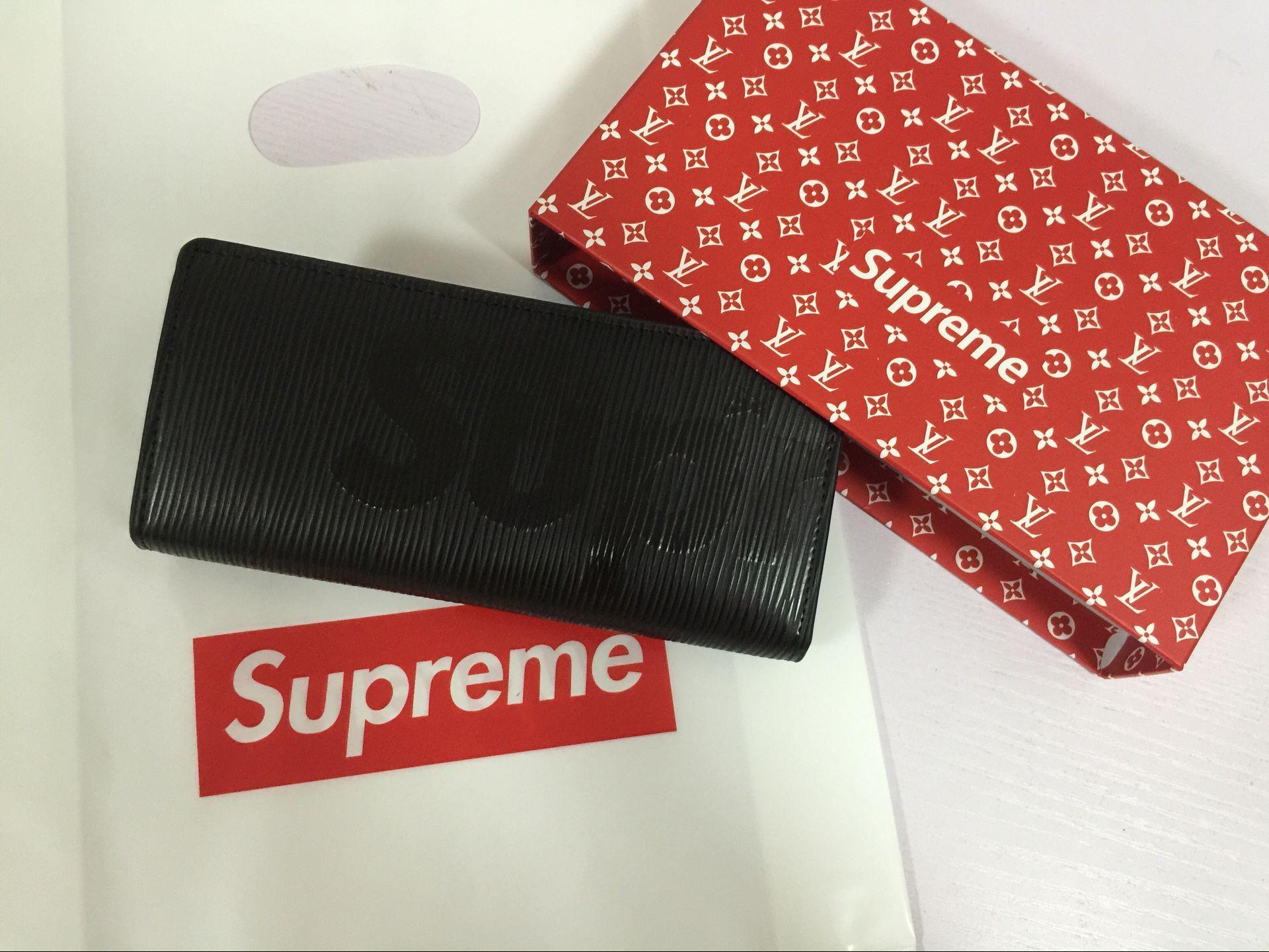 新品2700 supreme&LV シュプリーム 長財布 小銭入れ セール  ブラック