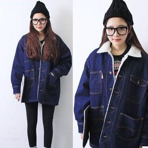 デニムファーコート 裏起毛 ゆったり デニム ポケット 韓国風 大きいサイズあり ポケット ファー