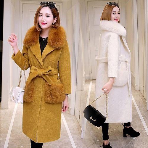 ファーコート スリム モコモコ 無地 モコモコネック 毛襟 ポケット ファッション 韓国風 全4色 ポケット ファー 大きいサイズ
