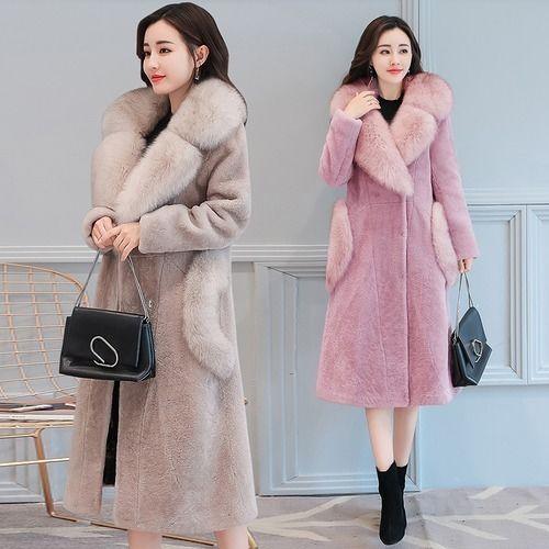 ファーコート モコモコ スリム モコモコネック 毛襟 ポケット 韓国風 全4色 ポケット ファー 大きいサイズ