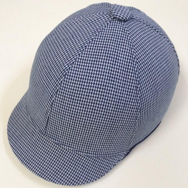 ジョッキータイプヘルメット 千鳥格子ブルー