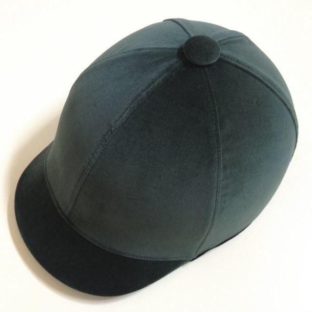 ジョッキータイプヘルメット グリーンベルベット リボン付