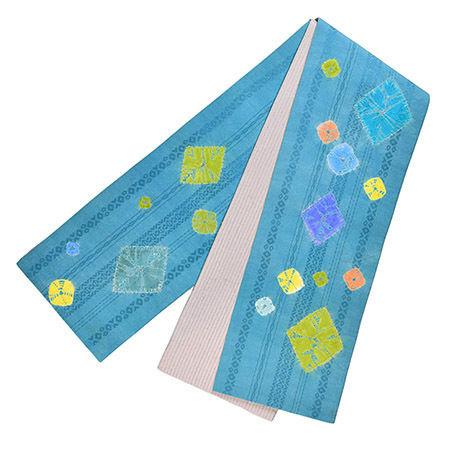 絞り半巾帯  青緑