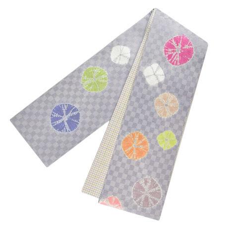 絞り半巾帯  グレー
