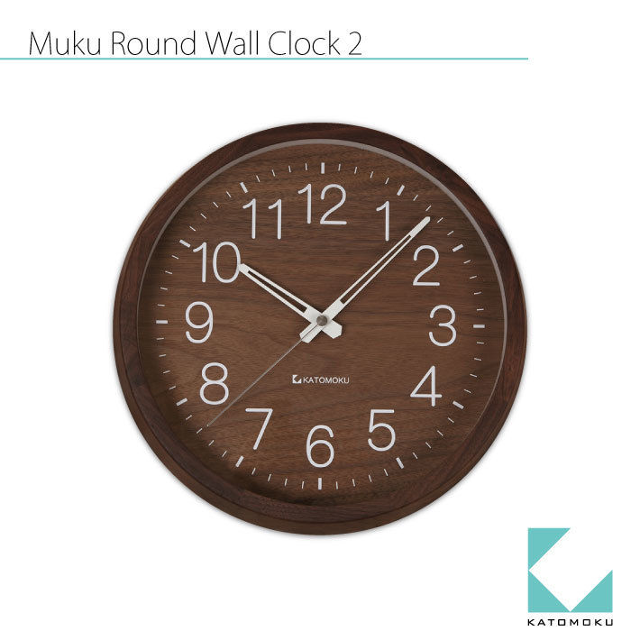 KATOMOKU muku round clock 2 Walnut Ver. km-46RC 電波時計