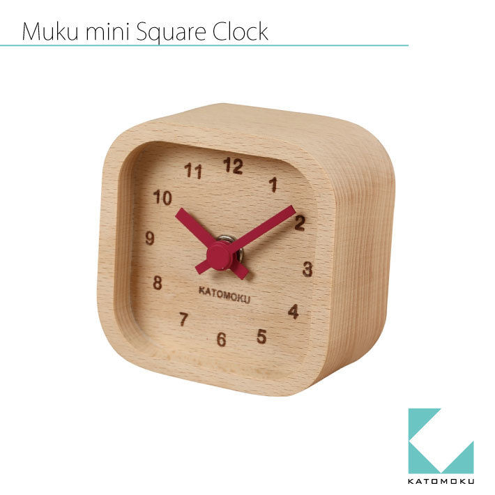 KATOMOKU Mini square clock  km-25 赤