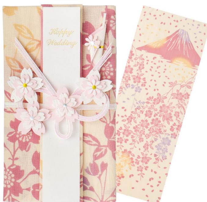 手ぬぐい祝儀袋  ●しだれ桜と富士山【和布華】