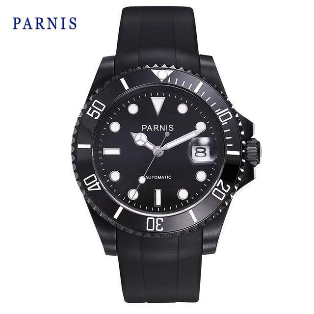 Parnis メンズ 機械式腕時計 防水 セラミックベゼル ラバーバンド
