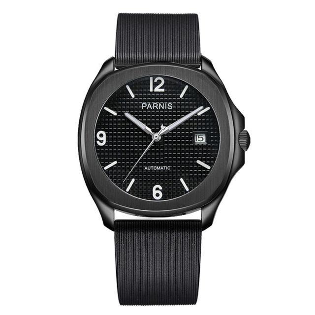 Parnis 自動巻き サファイアブラック 機械式時計  ラバーバンド