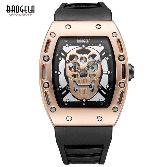 Baogela メンズ スケルトン クォーツ腕時計 ラバーバンド 防水