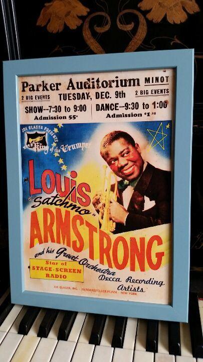 ルイ・アームストロング ビンテージコンサートポスターA4 【フレーム入り】 Printed in England