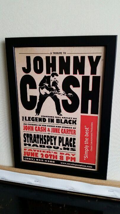 ジョニー・キャッシュ ビンテージコンサートポスターA4 【フレーム入り】Printed in England